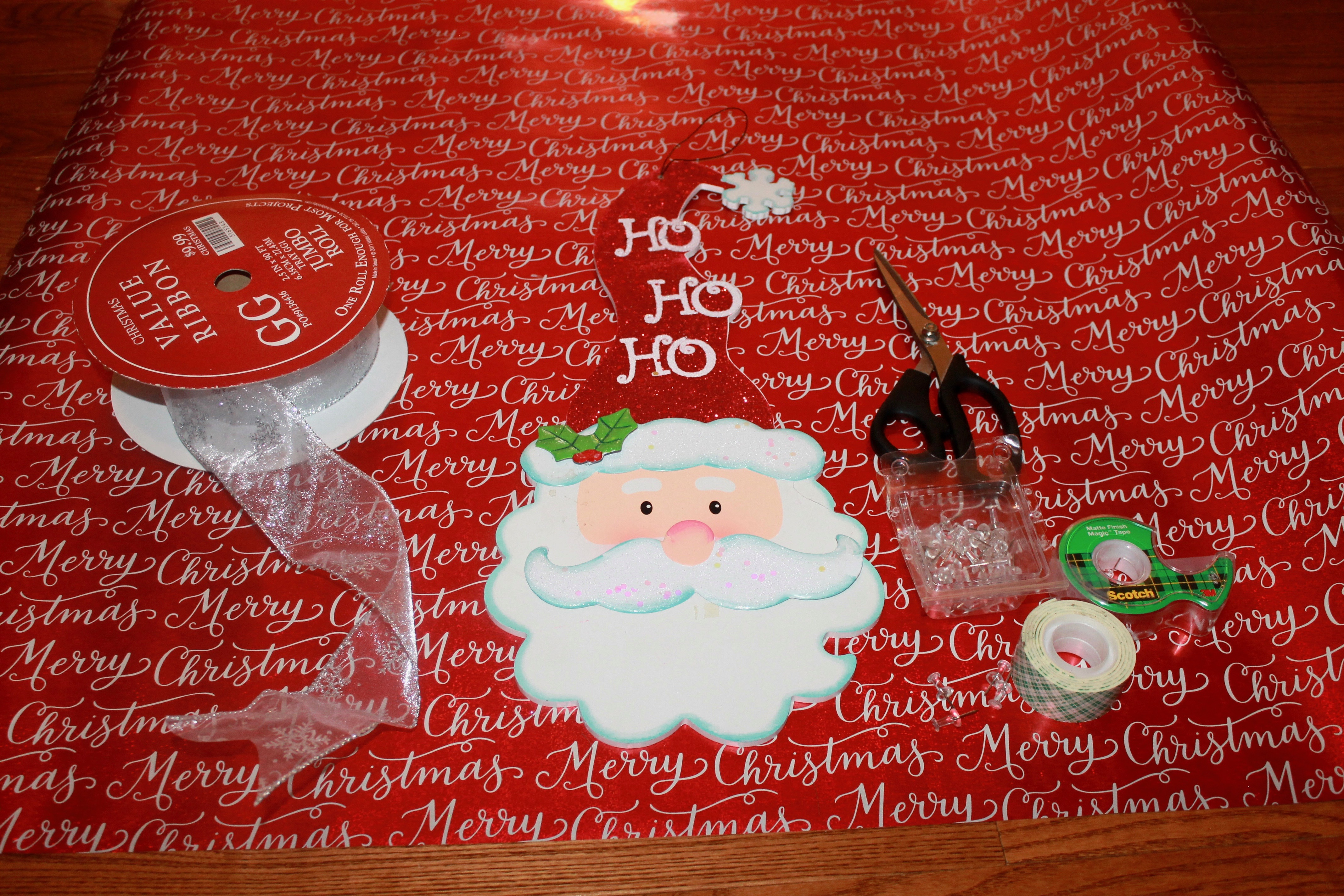 Materials needed for a Christmas backdrop