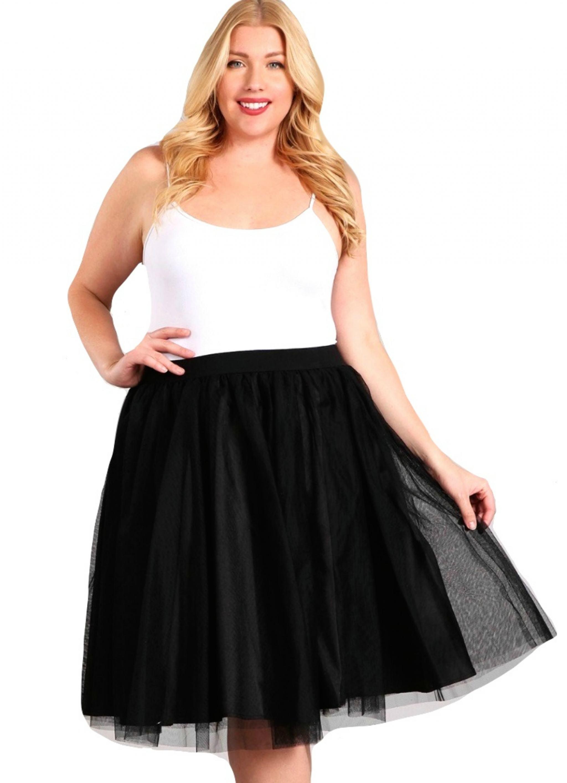 Plus-Size Black Tea Length Tutu Skirt