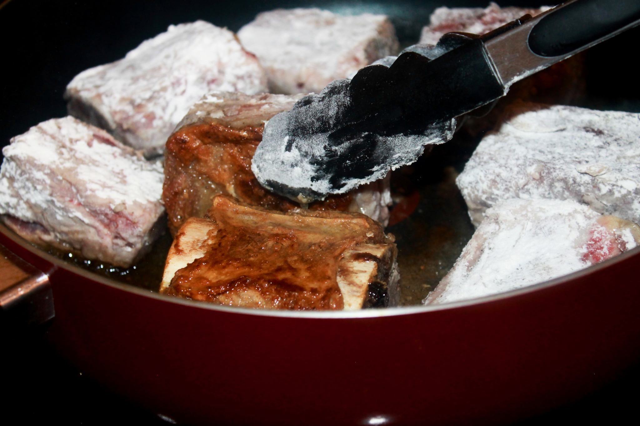 Searing beef short ribs