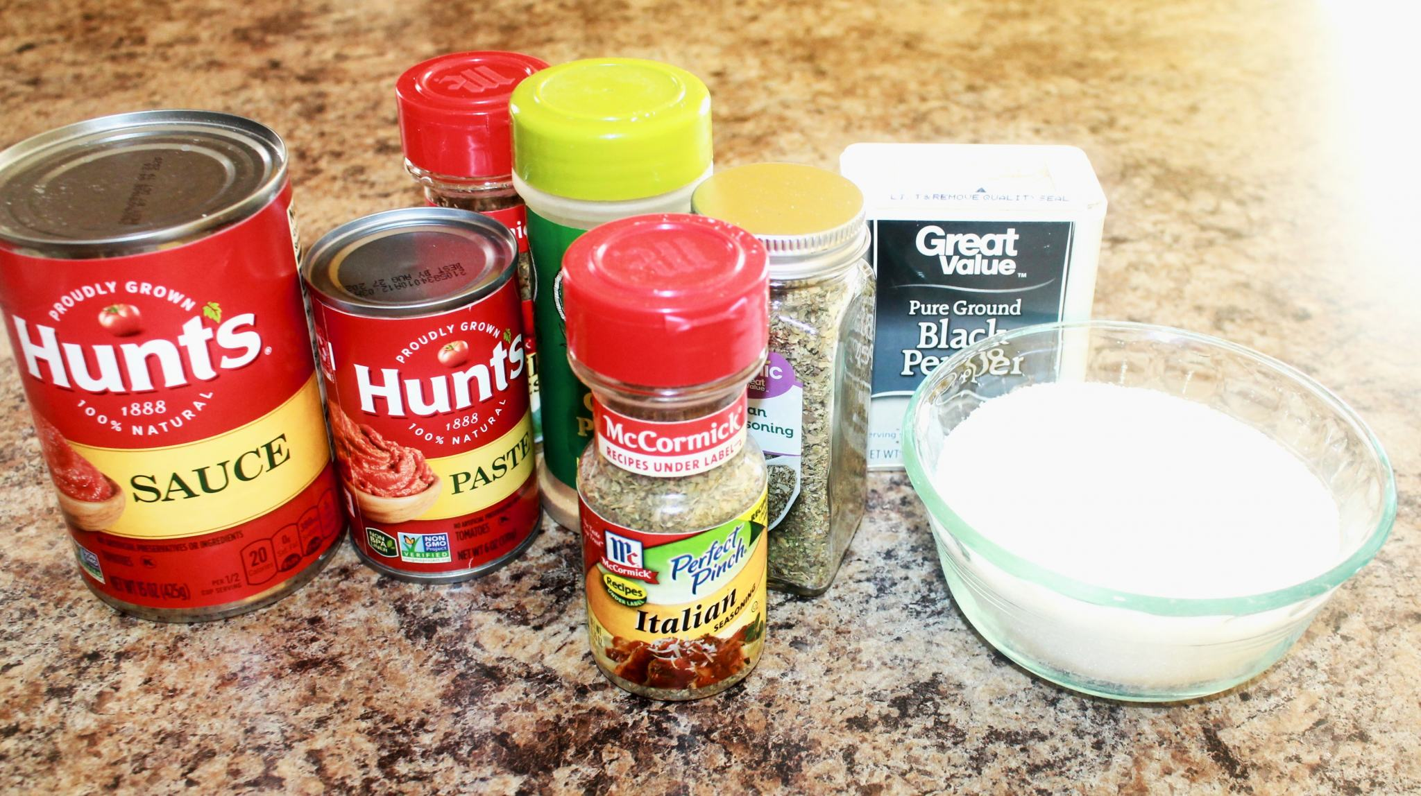 Homemade Spaghetti sauce ingredients