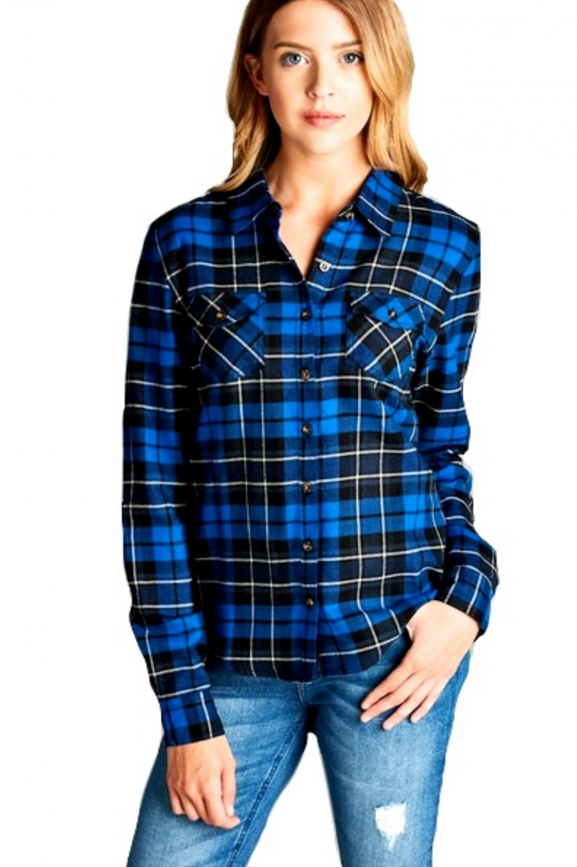 Blue and Black Tartan Plaid Shirt