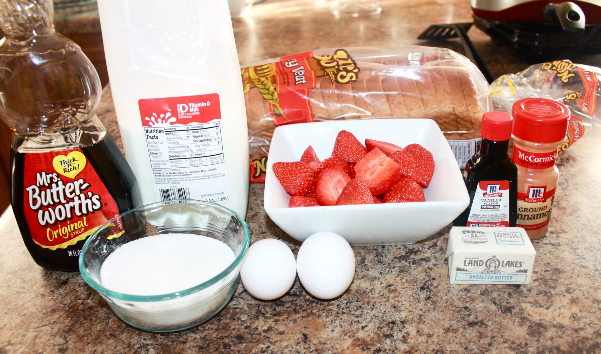 Ingredients for an easy French Toast recipe