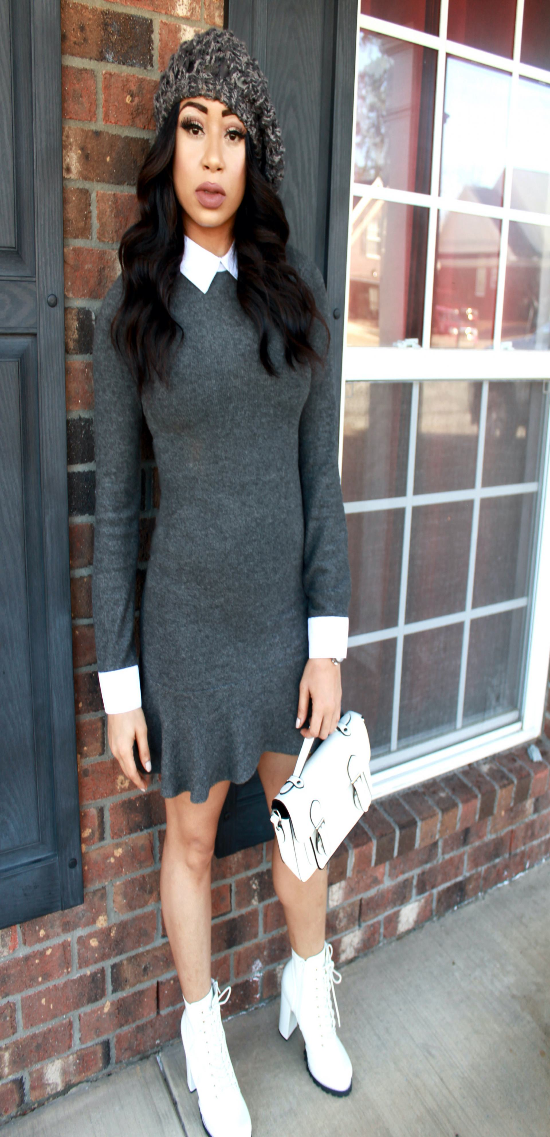 Minidress and ankle boot combination