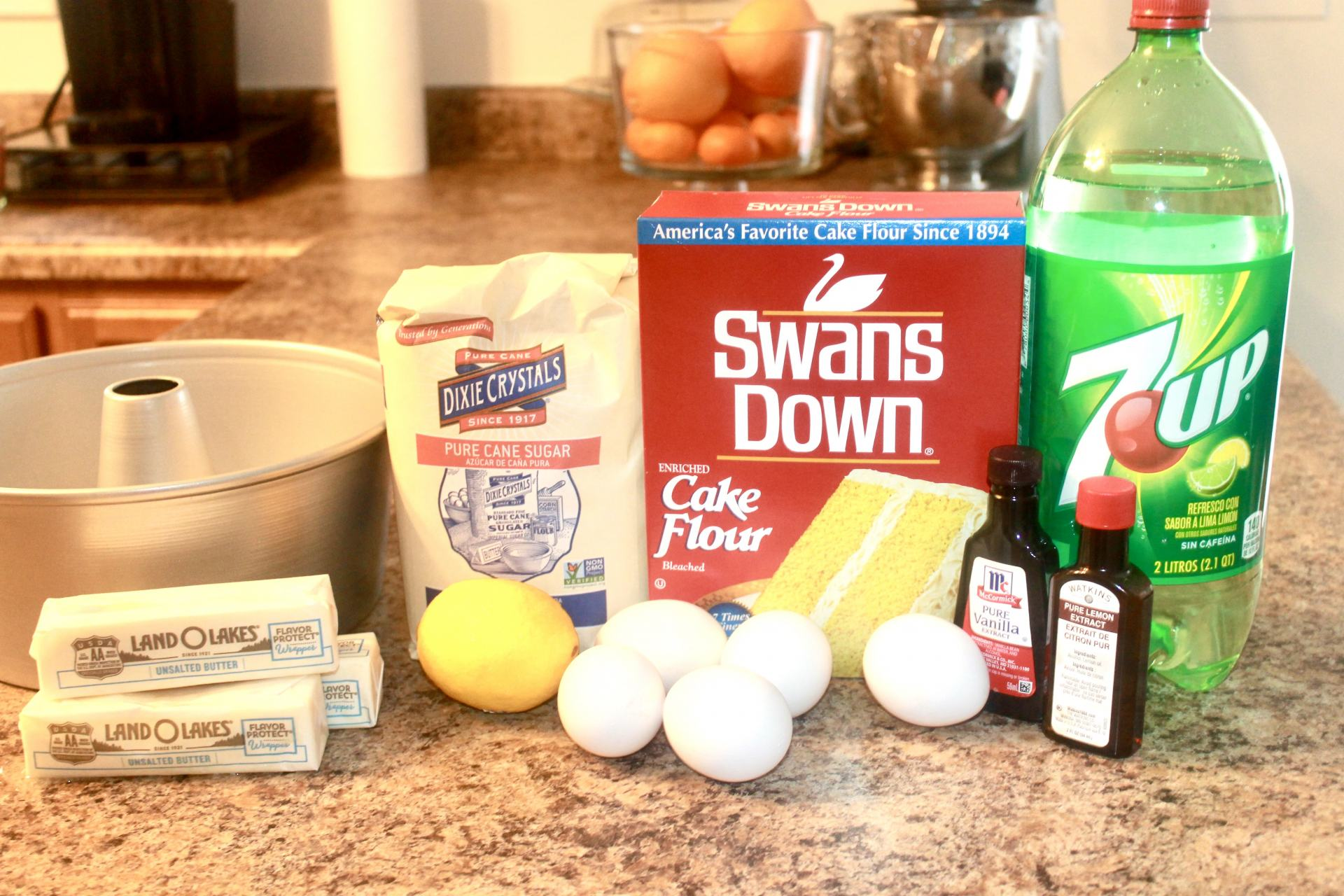 Ingredients for 7up Pound Cake from Scratch