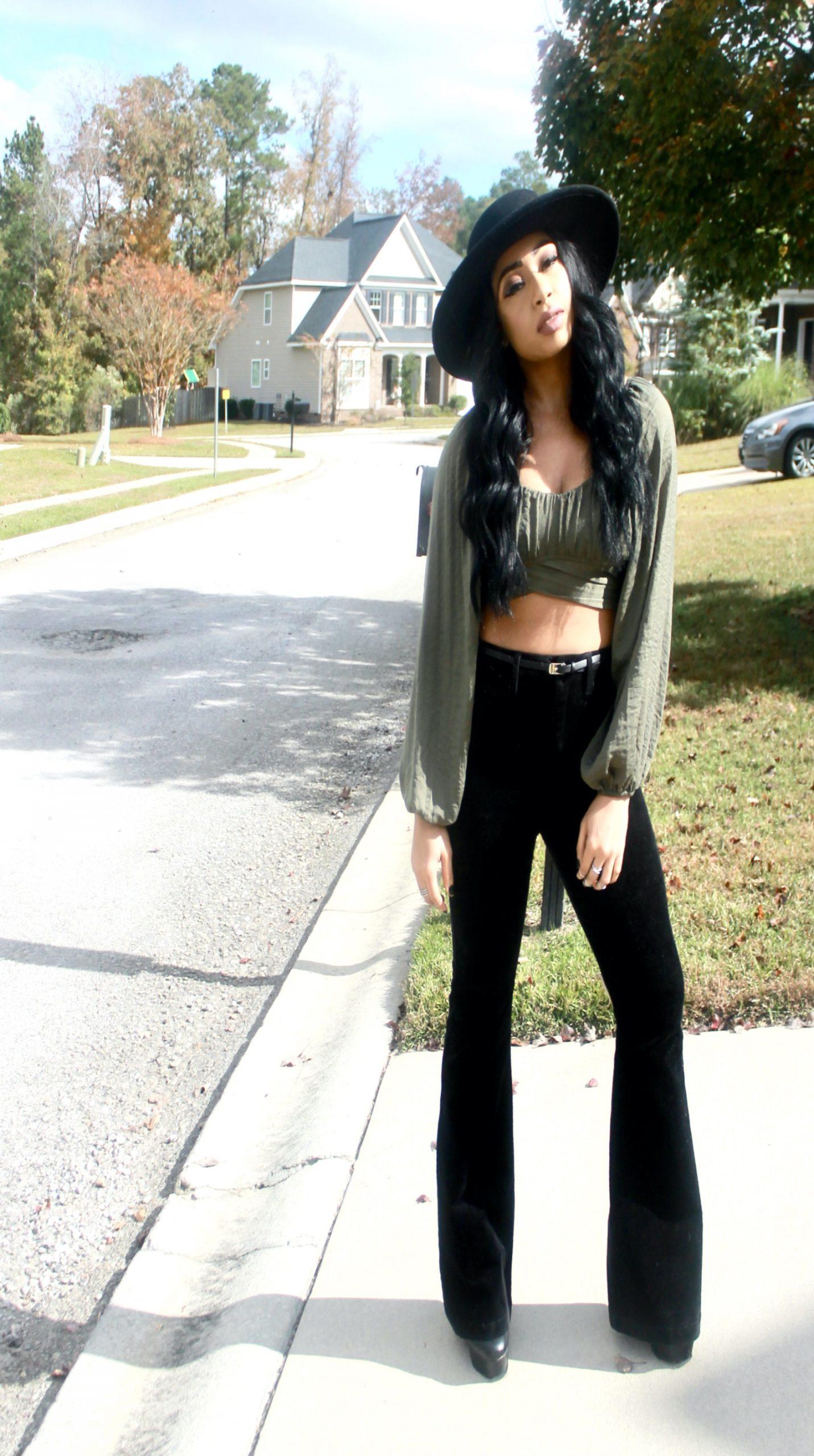 Wide Leg Black Corduroy jeans