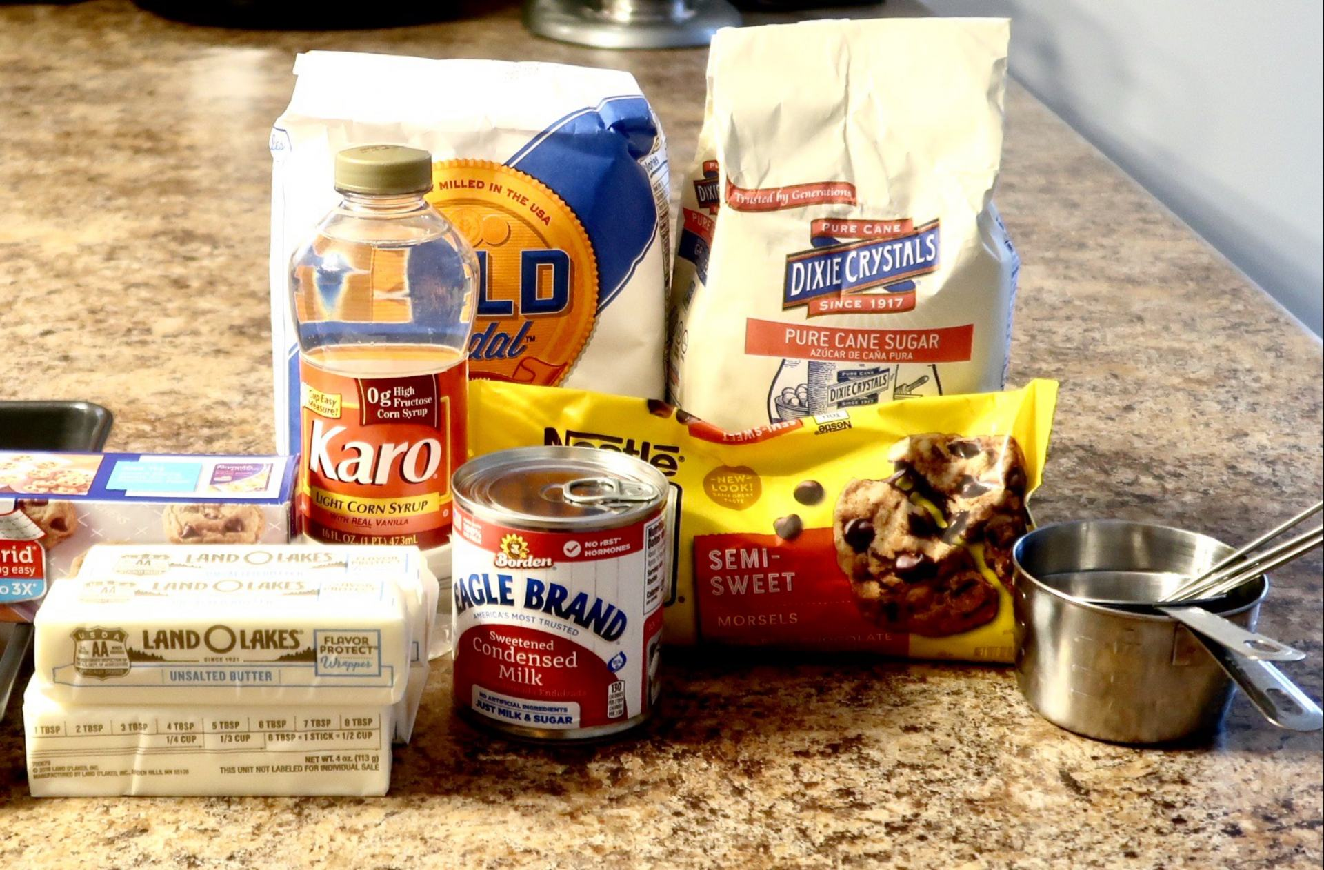 Ingredients for the Millionaire Bar recipe